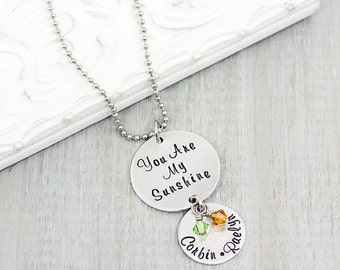 Personalized Jewelry - You Are My Sunshine  Hand Stamped Necklace -  Mothers Necklace