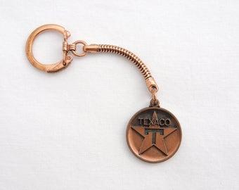 Vintage 1960's Texaco Advertising Keychain - Texaco Star Logo - Copper Keychain