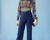 70s Navy High Waisted Wide-Leg Trousers