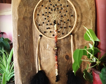 dreamcatcher, dream catcher, native inspired, boho, beaded, onyx,