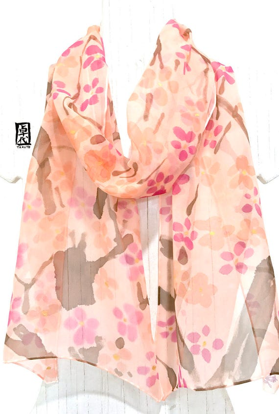 Women Floral Scarves, Lightweight Scarf, Handpainted Scarf, Orange Chiffon Scarf, ETSY, Pink and Orange Plum Blossoms, Takuyo, 11x60 inch