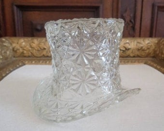 Vintage Fenton Daisy and Button Clear Glass Tophat
