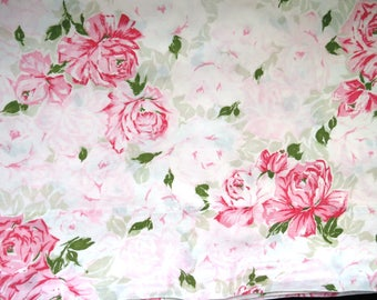 Vintage Twin Single Flat Sheet - Pink Roses - JC Penney Percale -  Shabby Chic Country Cottage Chic - Vintage Bedding Sheets Linens
