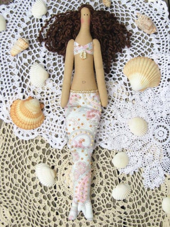 Rag doll Mermaid doll white pink paisley fabric doll brunette cloth doll art doll handmade doll nursery decor baby shower room decor doll