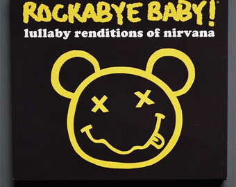 Nirvana Baby Lullaby Music CD. Instrumental lullaby songs for the nursery. Cool baby gift for a new mini Kurt Cobain.