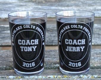 Coach Pint Glasses. Wedding, Groomsmen Gift, Dad. Laser Engraved Beer Pilsner Glass. Party Favor, Wedding Favor, Custom. School, College