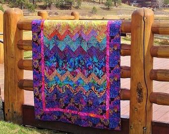 SUNSET OVER the ROCKIES--  Kaffe Fassett  Inspired Textile Art