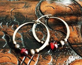 Sterling Silver Hoops with Garnet Beads // Boho earrings // Red Beaded Jewelry