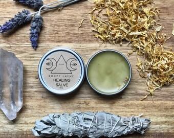 HEALING SALVE, st. john's wort + comfrey, natural vegan healing balm