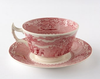 Red transferware, Royal Staffordshire, Jenny Lind teacup, transferware teacup