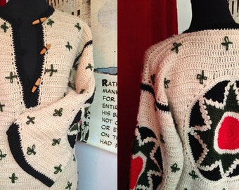 Vtg 80*s Crochet/'Ethnique' SWEATER// oversized pullover/gorgeous large mandalas on elbows and back/wide sleeves/ M