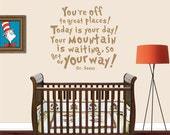 Dr Seuss Wall Decals - You're Off To Great Places! - Dr Seuss - Kids Room Decor - Nursery Decor - Nursery Wall Decal - 8005