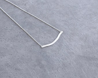 Minimalist Necklace Contemporary Jewelry Sterling Silver Wave Necklace