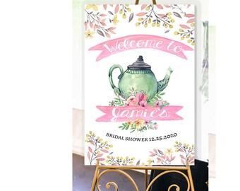 Tea Party Decor- Tea Party Sign- Bridal Shower Sign- Bridal Tea Party- Welcome Sign- Tea Party Theme-Tea Party Art Printable-YOU PRINT