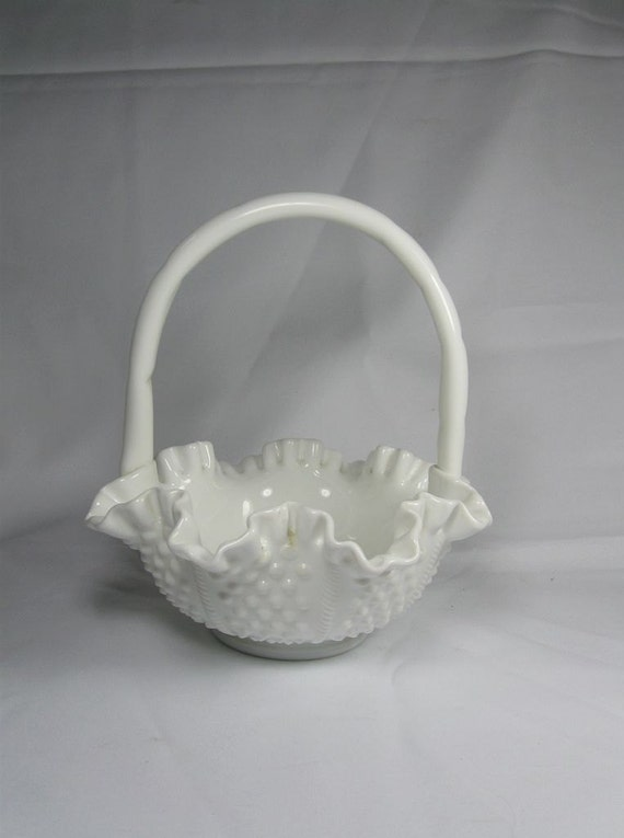 Lovely Vintage White Hobnail Ruffled Milk Glass Basket Fenton with Rope Accent and Handle