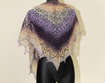 Purple Hand Knit Shawl, Hand Knit Shawl, Ombre Knit Shawl, Beige and Purple Knit Shawl, Evening Stole