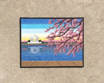 Cherry Blossoms at the Tidal Basin, 14x18 inch canvas, sewn fabric art, sewn on a 1968 Singer, all recycled fabrics, ready to hang canvas