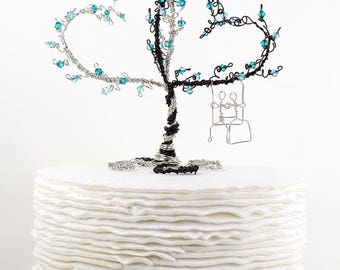 Wedding Cake Topper Two Hearts Entwined with Couple on a Swing Custom Topiary Wire Sculpture