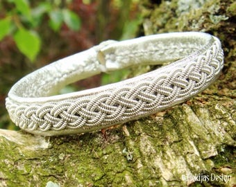 Silver Sami Bracelet ASGARD Viking Leather Cuff with Pewter Braid | Custom Handmade to your size and choice of color