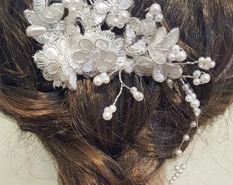 Wedding Hair Piece, Bridal Hair Piece, Wedding Comb, Lace Hair Piece, White Bridal Comb, Lace Bridal Comb, White Silver Wedding Hair Comb