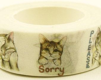 Sorry Cat - Japanese Washi Masking Tape - 11 yards