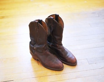 Vintage Chippewa Brown Cowboy Boots, American Made, Mens 10 / ITEM059