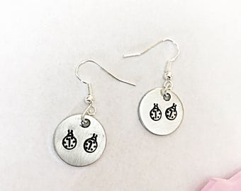 Hand Stamped Ladybird Earrings - Ladybird Earrings - Hand Stamped Earrings - Ladybug Earrings - Dangly Earrings - Ladybird Jewellery