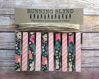 Photo Garland. Decorative Clothespins and Twine. Wall Decor. Card Holder. Photo Display. Kids Art Display. Gifts for Her. Gifts for Teens.