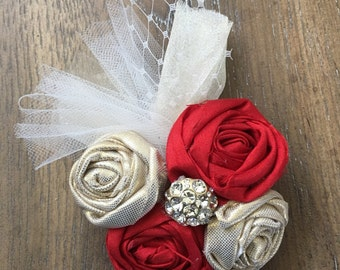 Ready to Ship - Red and Gold Rosette Hair Piece with AlligatorClip and Gold and White Tulle and Jewel Center / Lightweight
