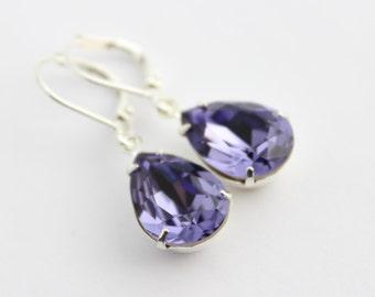 Swarovski Tanzanite earrings, Purple earrings, Swarovski earrings, bridal earrings, lavender earring, purple wedding, flowergirl earring ST1