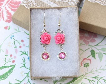 Pink Rose Earrings, Filigree Earrings, Gift for Her, Floral Jewelry, Vintage Style, Delicate Jewelry, Jewelry Under 30, Victorian Style