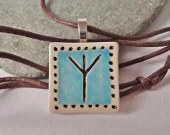 Ceramic Elder Futhark Rune Pendant, Algiz Rune Necklace, Asatru, Heathen, Viking, Norse, Rune Jewelry, Rune Gift, Pagan Jewlry, Unisex