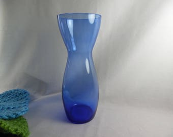 Blue Glass Vase, Delicate Clear Sapphire Blue Glass Flower Vase, Tall Vase