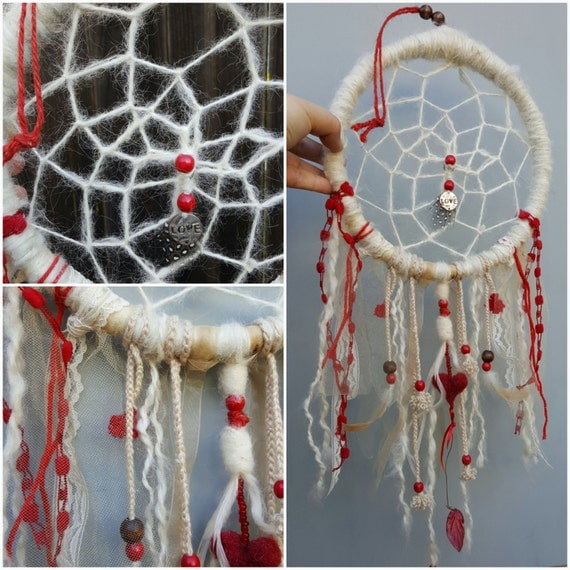 Dream catcher boho style white lace red heart yarn wrapped