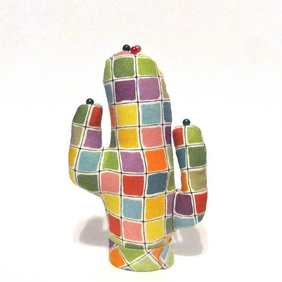 Colorful Tiles Fabric CACTUS-Stand Eyeglass Ring Holder Ready to Ship
