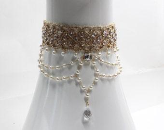Pearls, Gold Choker, Pearl Crystal Choker, crystal choker, Choker Jewelry, Pearl Choker, Silver Pearl Choker, Rihanna Choker, Diamond Choker