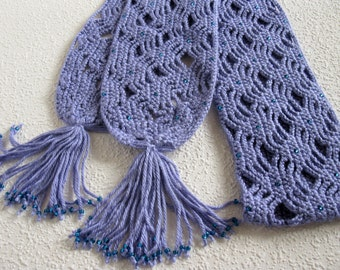 Crochet Beaded Scarf.  Long, lightweight periwinkle scarf with blue beads.