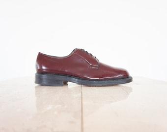 Vtg Allen Edmonds Oxblood Patent Leather Oxford Shoes / Men's Size 8 US - 7.5 UK - 41 Eur