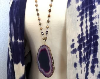 Purple Agate Slice Necklace // Gold Edged, Knotted Silk Cord, Wood Picture Jasper Brown Beaded, Mineral Rock Geode, Rhinestone Pave, Long