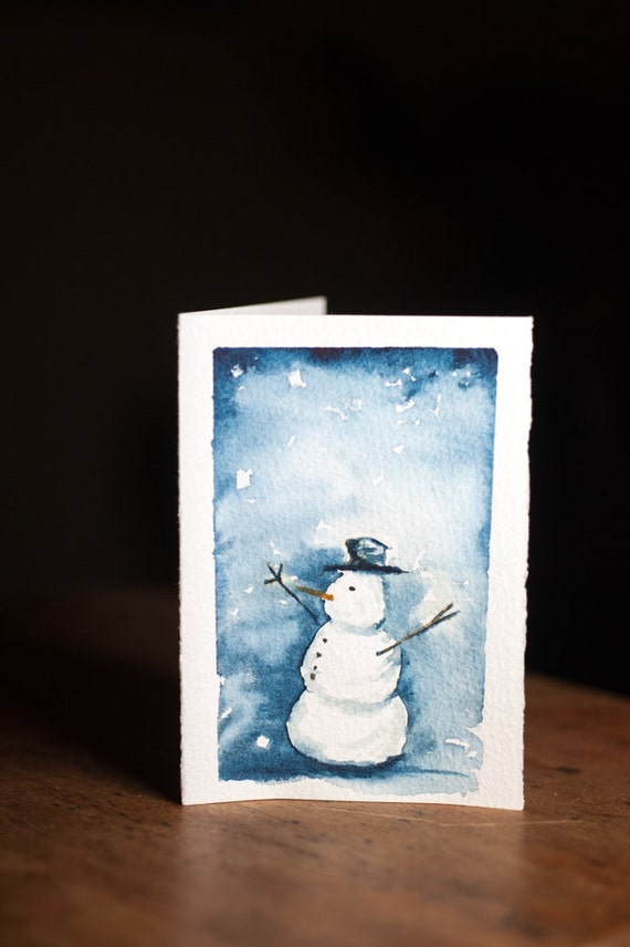 Snowman Watercolor Christmas Card Hand Painted Original