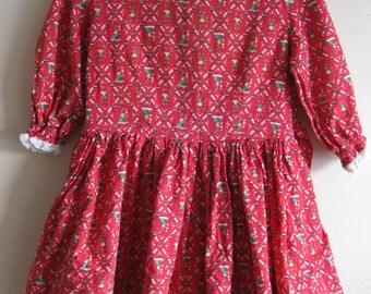 1940s Folk Art Print Girls Dress Hand Sewn 5 / 6 / 7