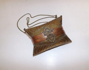 Vintage brass and copper pillow cushion purse evening bag shoulder handbag boho Indian