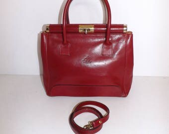 Vintage 1980s cherry red real leather grab handbag or shoulder bag by Allen co