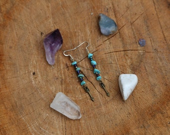 turquoise arrow earrings FREE SHIPPING