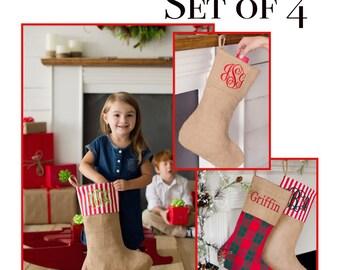 Burlap Christmas stockings, Christmas stocking set, family Christmas stockings, plaid stockings, burlap stockings,