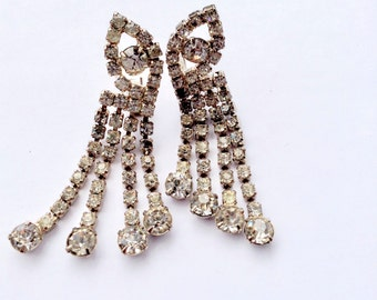 Rhinestone Fringe Earrings Dangle Drop Vintage Bridal Retro Fashion Jewelry