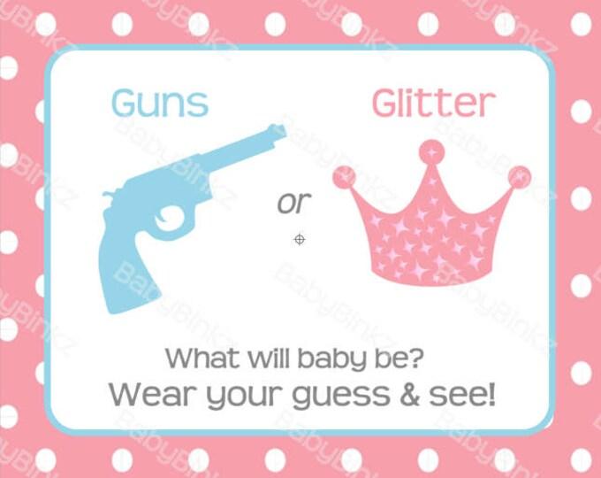 Gender Reveal Pin Sign - Guns or Glitter Gender Reveal Party Baby Shower Die Cut Pistol or Crown Pink Girl & Blue Boy vote game