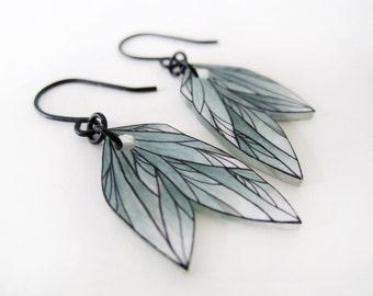 ASH GREEN FEATHER dangle earrings // drop earrings, jewelry, colorful jewellery