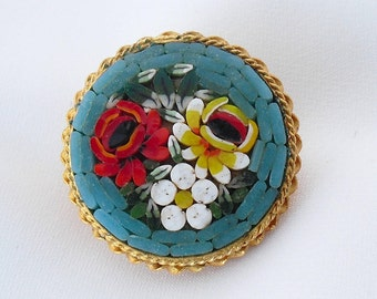 Vintage Mosaic Brooch Marked Italy Micro Mosaic Red Rose Vintage Floral Jewelry Pin