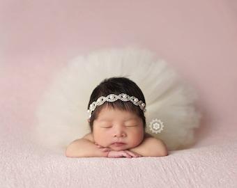 Vintage Ivory Tutu Newborn Ivory Tutu Newborn Tutu Baby Tutu Tutu Skirt Tutu And Headband Set Tutu Set Baby Photo Prop Newborn Photo Prop
